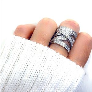 Wide Band Diamond Sterling Silver Statement Ring